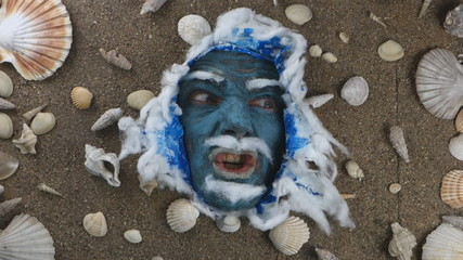 angry blue sea man expression ,Ocean King Poseidon