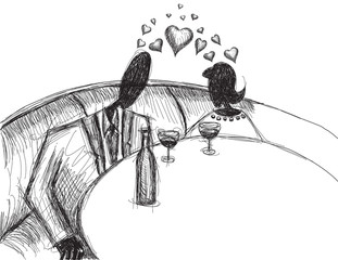 Couple with wine sketch