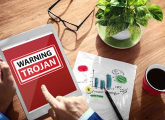 Digital Device Wireless Browsing Warning Trojan Concept