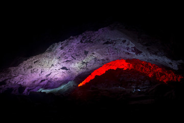 Kungur Ice Cave. Lighting niche as meteor at dawn in the grotto