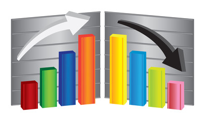 Business Bar Charts Vector Illustration