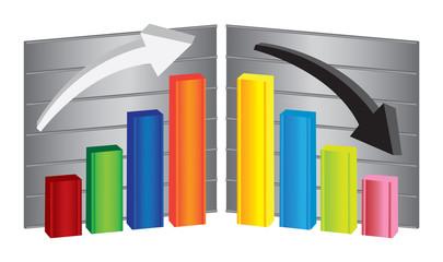 Business Bar Charts Vector Illustration