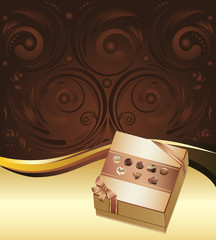 Brown Background with Chocolate Box