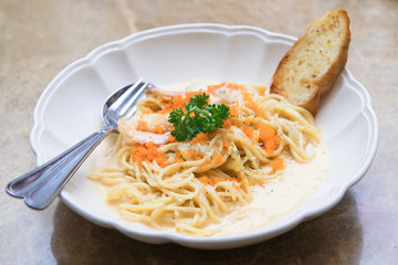 Spicy ebiko  spaghetti with prawn and scallop