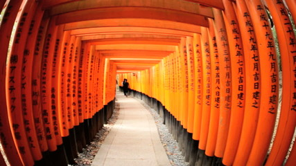 Torii gates wide angle Fushimi Inari Taisha shrine Kyoto Japan Asia