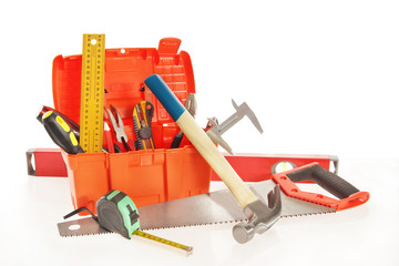 Toolbox with various working tools isolated over white