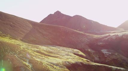Aerial volcanic area sun flare landscape National Park Iceland
