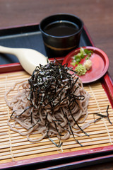 Japanese food Cold soba noodles with dipping sauce