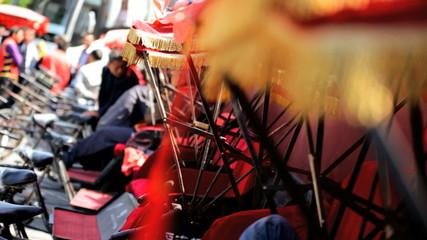 Chinese Rickshaw tourists transportation rental Beijing China