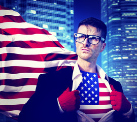 Superhero Businessman American Flag Patriotism National Concept