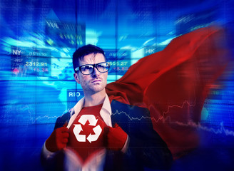 Recycle Strong Superhero Success Professional Empowerment Stock
