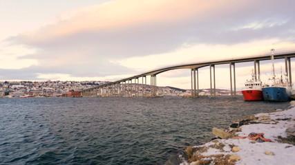 Tromso Bridge cantilever road bridge nautical vessels fading sunlight Tromso