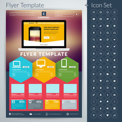 Vector abstract business flyer or poster template with icon set