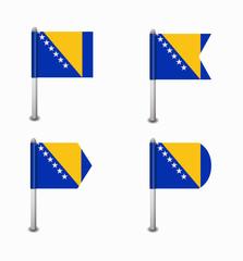 set of four flags Bosnia and Herzegovina