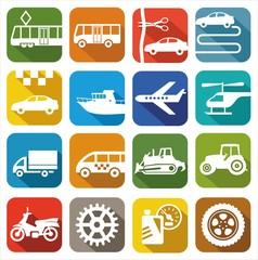 Иконки транспорт и техника цветные