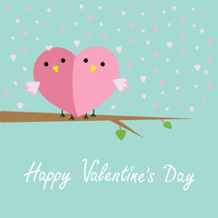 Two birds heart sitting on the tree Flat design  Valentines day