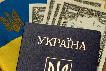 Ukrainian passport on the background of the flag of Ukraine