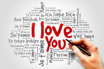 "Word cloud ""I Love You"" in different languages concept"