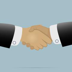 Handshake on light blue background vector illustration