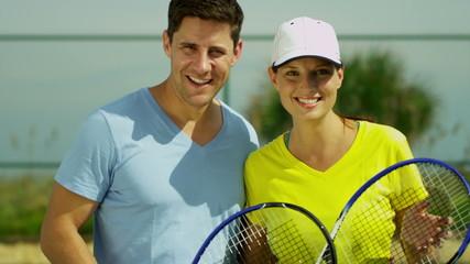 Portrait Healthy Smiling Caucasian Couple Outdoor Tennis Court