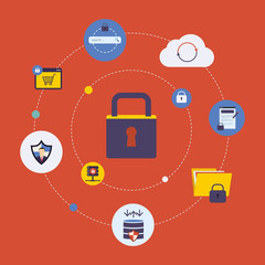 Set of modern flat design icons on the topic of online security