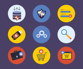 Set of flat design concept icons for technology security and