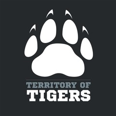 Tiger footprint on dark background - vector illustration