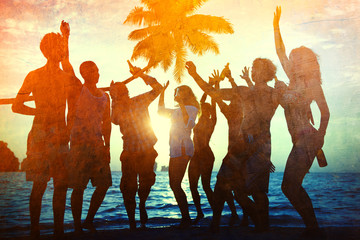 Young Adult Togetherness Party Fun Freedom Beach Concept