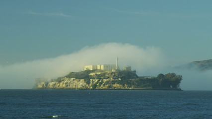 Alcatraz Island The Rock sea fog Bay Prison, San Francisco, California, USA