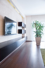 Tv on the wall inside room