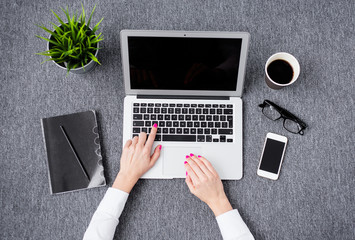 Young professional woman working with computer