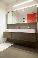 Bright bathroom inside new apartment