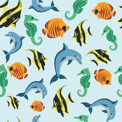 children's wallpaper with sea inhabitants