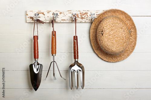 Foto op Plexiglas Madeliefjes Garden tools hanging