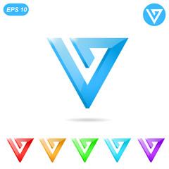 V letter logo concept with color variations