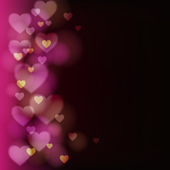 Abstract vector background with hearts and lights