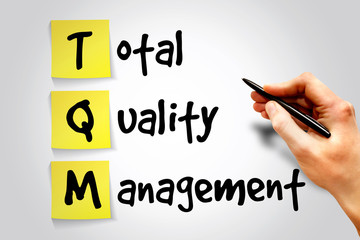 Total Quality Management (TQM) sticky note concept