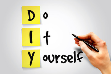 Do It Yourself (DIY) sticky note, business concept acronym