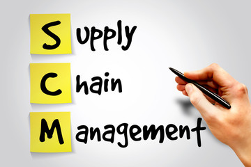 Supply Chain Management (SCM) sticky note, business concept