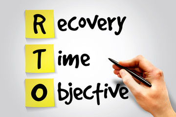 Recovery Time Objective (RTO) sticky note, business concept
