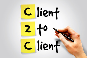 Client To Client (c2c) sticky note, business concept acronym