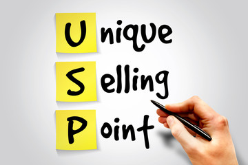 Unique Selling Point (USP) sticky note, business concept