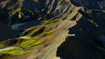 Aerial volcanic landscape colorful  geology Landmannalaugar Iceland