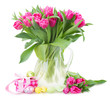 canvas print picture - bunch of pink tulip flowers