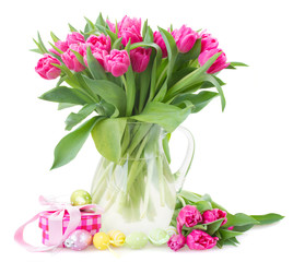 bunch of pink tulip flowers