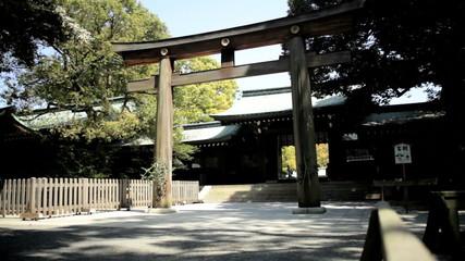 Ceremonial gate Meiji Jingu Shrine Yoyogi Park Tokyo Japan