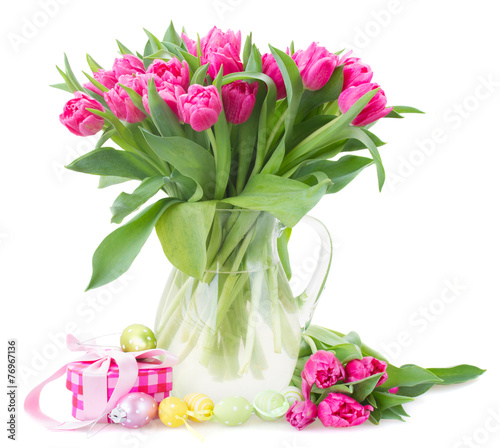 canvas print picture bunch of pink tulip flowers
