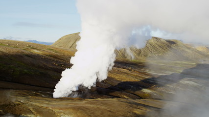 Aerial National Park active mountain volcanic region steam venting Iceland