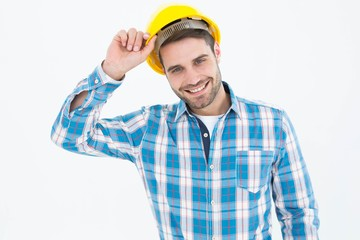 Confident male technicial wearing hard hat