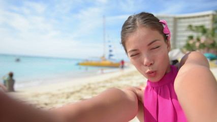 Selfie beach travel woman self portrait video